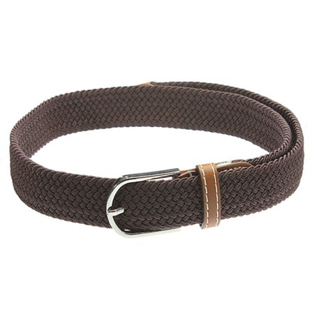 THZY Unisex Men Women Stretch Braided Elastic Leather Buckle Belt Waistband coffee