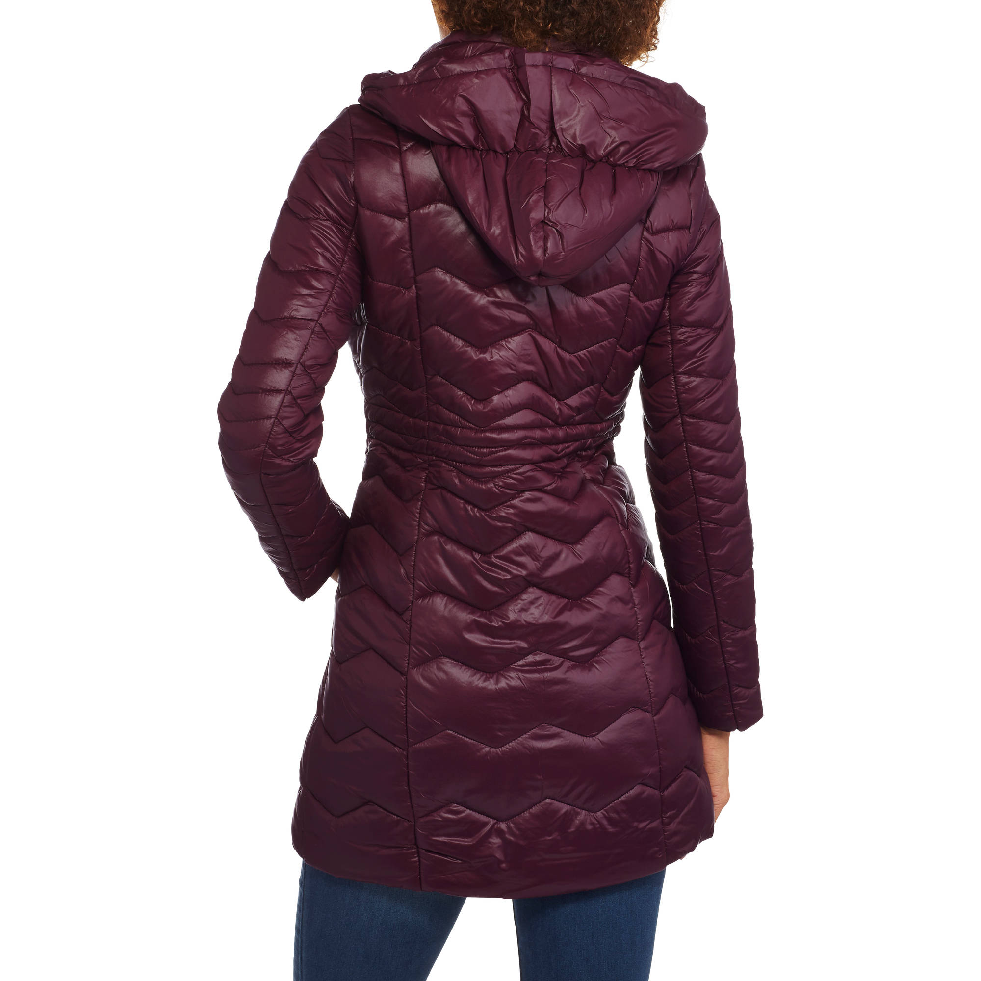 78860b1ad Women's Long Quilted Chevron Hooded Puffer Coat