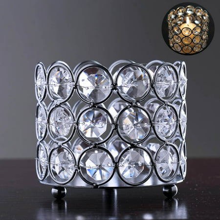 - Efavormart Silver Elegant Metal Votive Tealight Crystal Candle Holder Wedding Dining Room Coffee Table Decorative Centerpiece