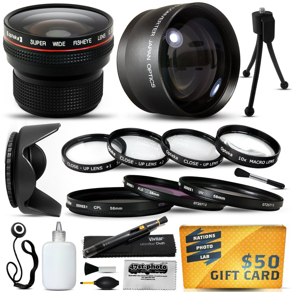 15 Piece Macro Fisheye Telephoto Lens Filters Set includes 3 Filter + 4 Piece Close UP Kit + More for JVC... by Opteka