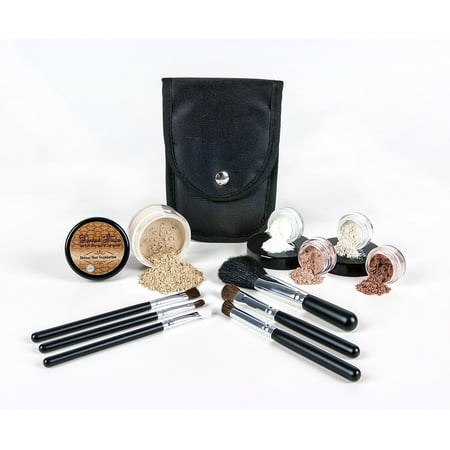 STARTER KIT with 6 pc BRUSH SET Mineral Makeup Bare Skin Matte Foundation Cover