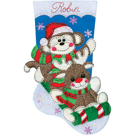Sock Monkey Stocking Felt Applique Kit, 18