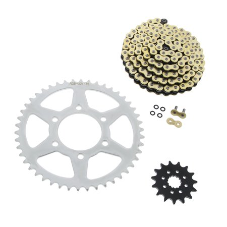 07 Kawasaki Ninja 650 650R CZ SDZZ Gold X Ring Chain Sprocket Silver 15/46