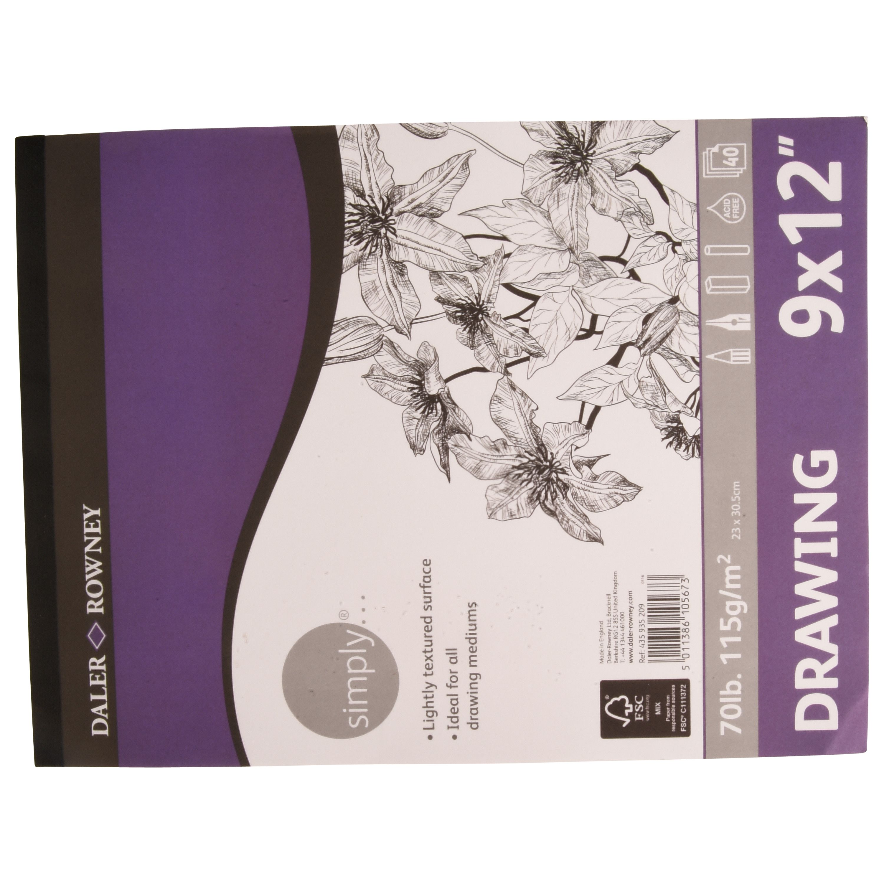 Daler Rowney Simply 9x12 Drawing Paper,  115 gsm