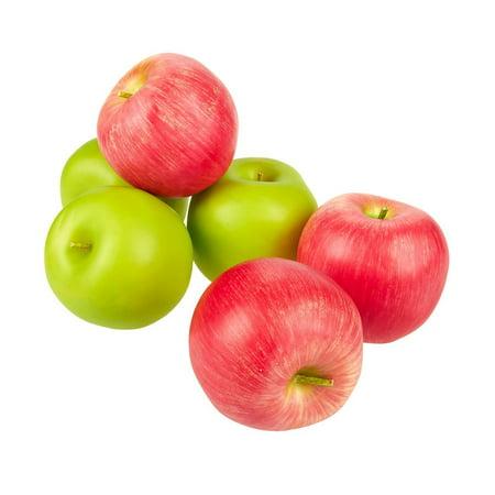 Juvale Set Of 6 Fake Fruit Apples Artificial Fruit Plastic Apples