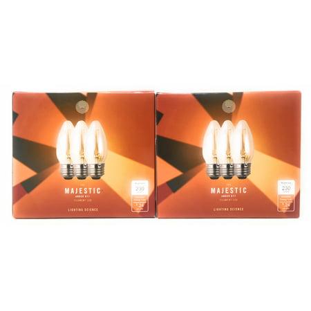 Lighting Science 6-Pack 25W Equivalent B11 Amber Filament LED Light Bulb E26 Base 2200K 230 Lumens ()