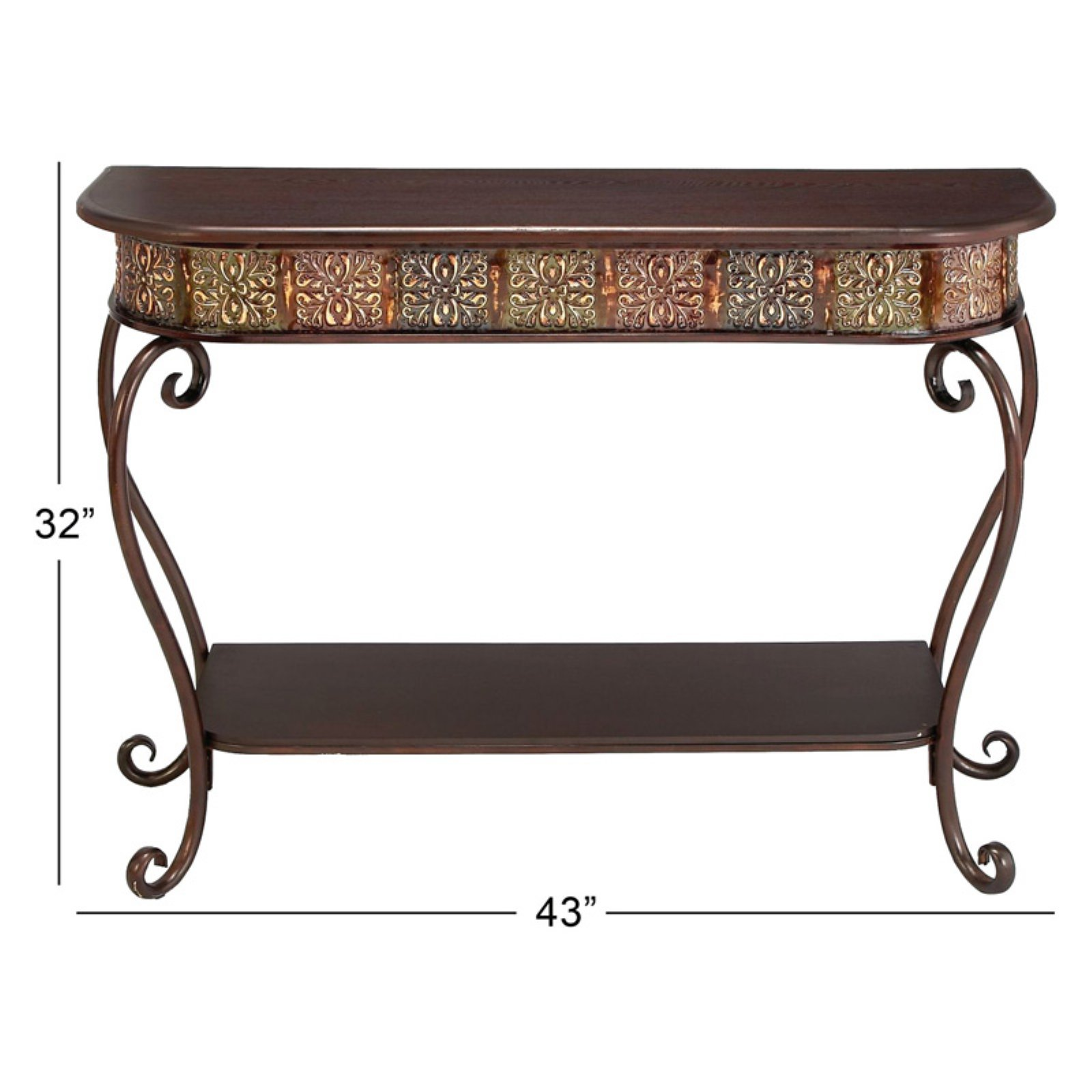 Wood metal console table modern accent shelf stand sofa entryway hall furniture