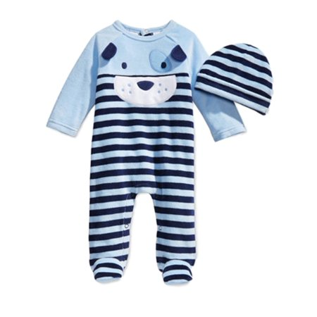 First Impressions Infant Boys Plush Puppy Dog Jumpsuit Sleeper & Hat (Sleeping Dogs Best Outfit)