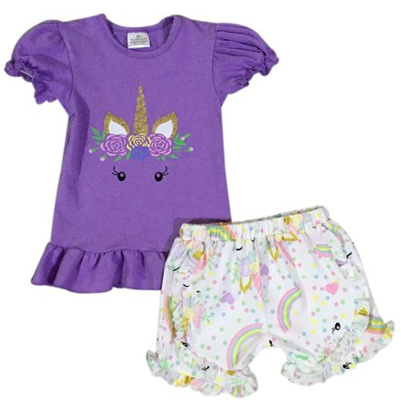 Infant Girls 2 Pieces Pant Set Unicorn Top Ruffle Shorts Outfit Clothing Set Purple 2T XS (201335)