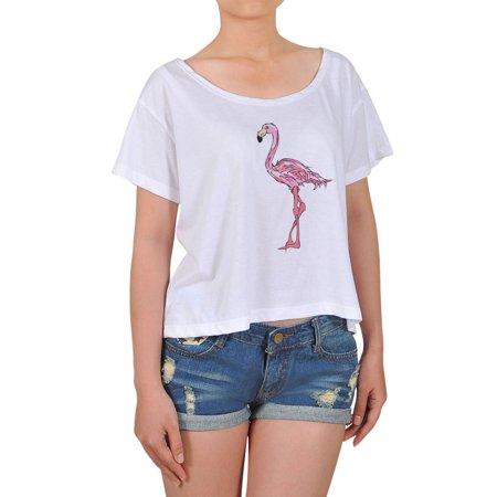 Flamingo Bird Printed 100  Cotton Short Sleeves Fashion Croptop Wts 08 L