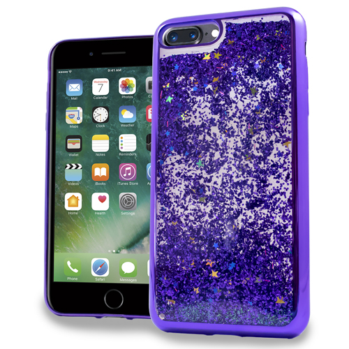 MUNDAZE Purple Motion Glitter Chrome Case For Apple iPhone 7 Phone