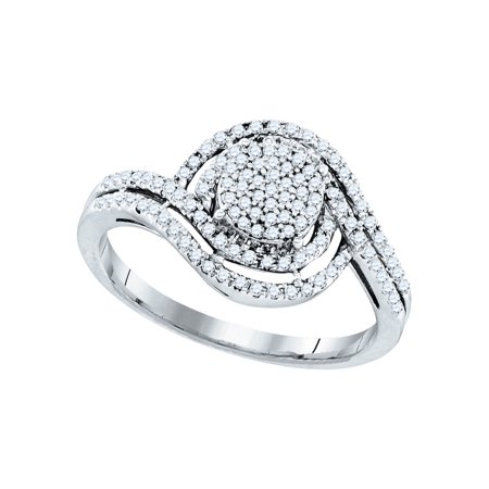 10K White Gold 0 33Ctw Shiny Diamond Fashion Swirl Center Round Micro Pave Ring