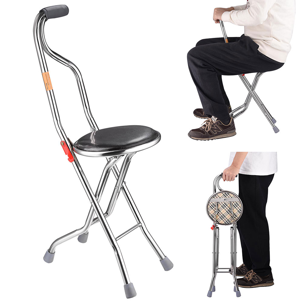 Yescom Medical Portable Folding Walking Stick with Seat Four ...