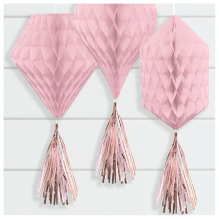 Rose Gold Blush Mini Honeycomb Decorations w/ Tassels (3ct)