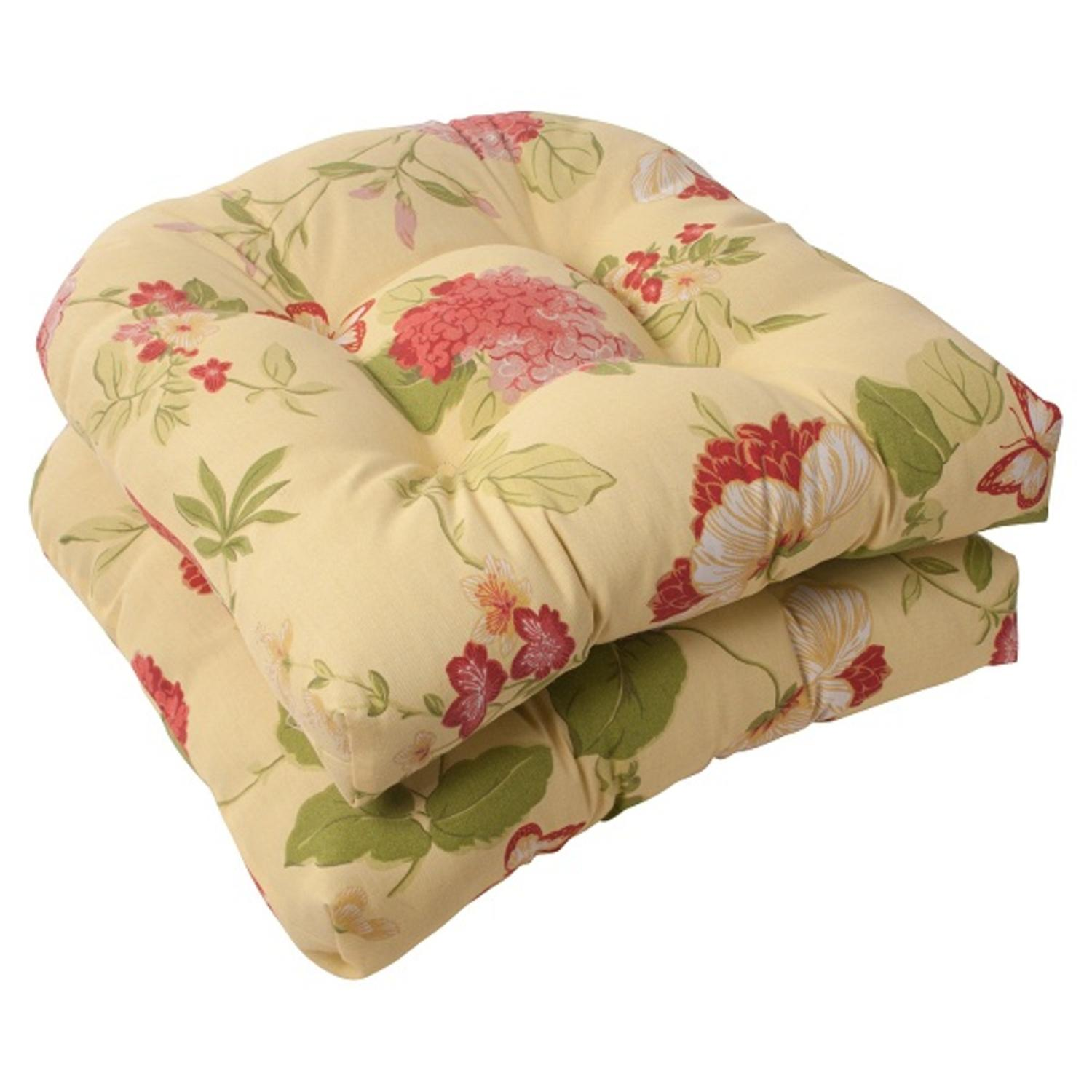 Set of 2 Solarium Bashful Blossom Outdoor Tufted Patio Furniture Chair Cushions