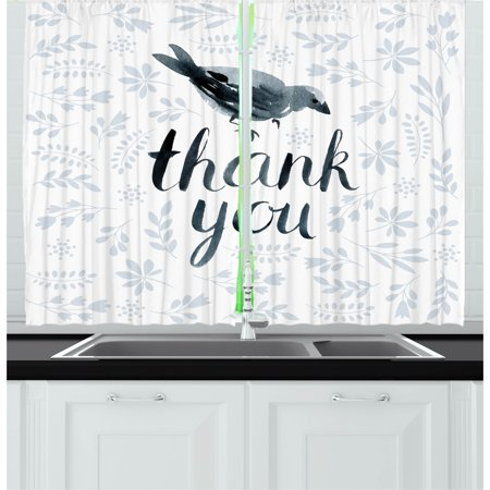 Animal Curtains 2 Panels Set, Big Chubby Cute Bird with Water Color like Thank You Quote and Leaves Artwork, Window Drapes for Living Room Bedroom, 55W X 39L Inches, Grey and Black, by Ambesonne - Cute Chubby Teen