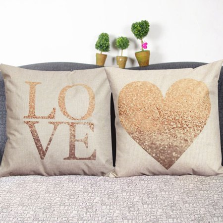 Meigar Vintage Love Heart Decorative Throw Pillow Case Cushion Cover Clearance 18x18 inch Square Zipper Waist Pillowcase Pillow Protector Slip Cases Sham for Couch Sofa Home