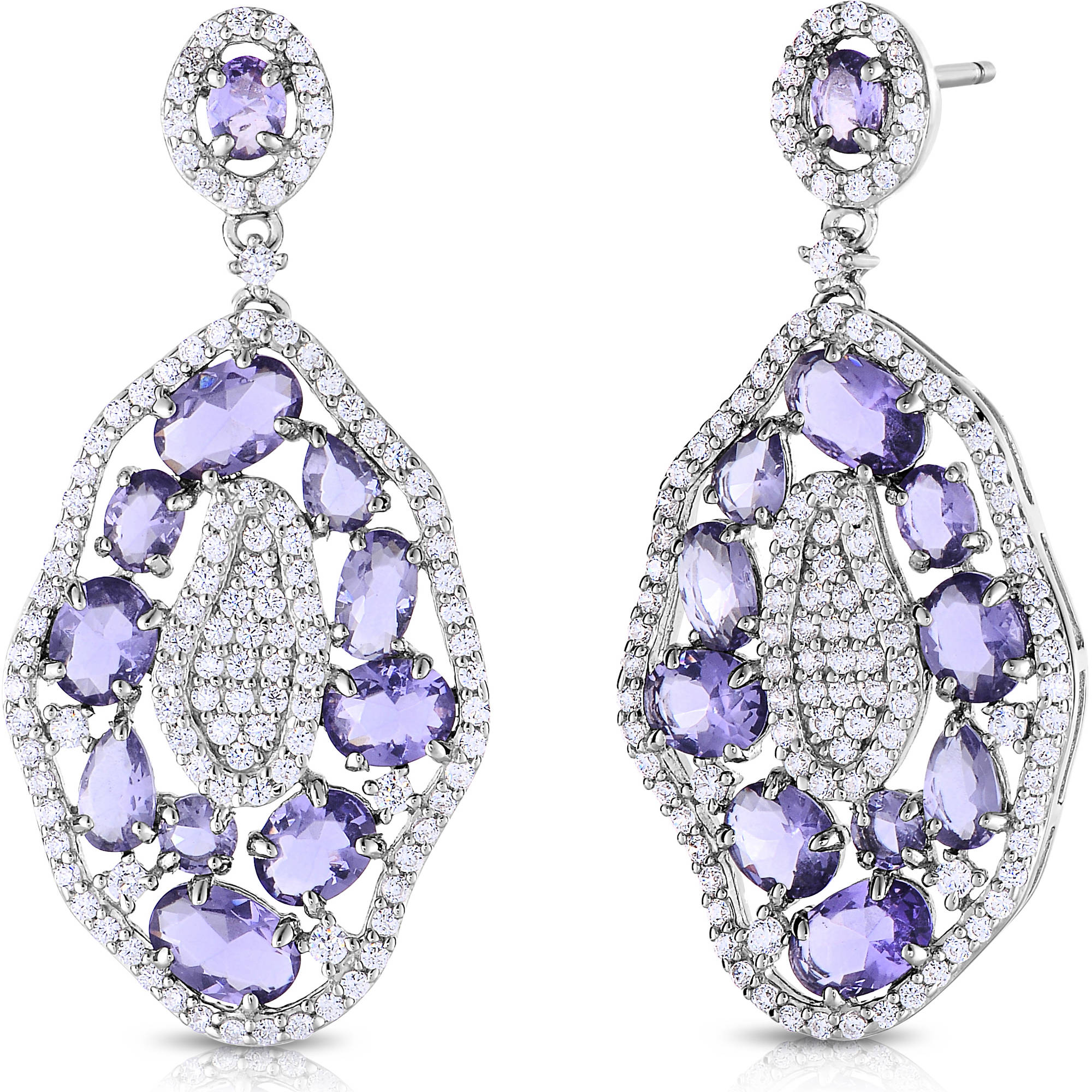 Purple and White CZ Sterling Silver Earrings