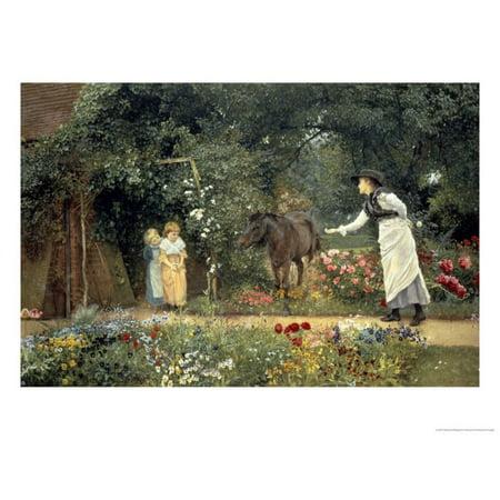 Pony Wall Hangings - Feeding a Pony in a Surrey Garden Print Wall Art By Edward Killingworth Johnson