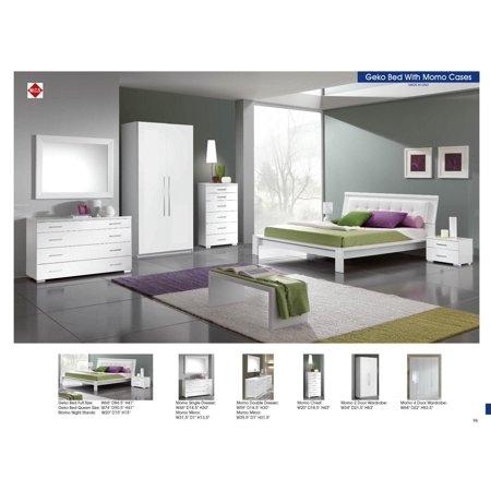 ESF Geko Momo Modern Style White High Gloss Finish Full Size Bed Bedroom  Set 5Pc