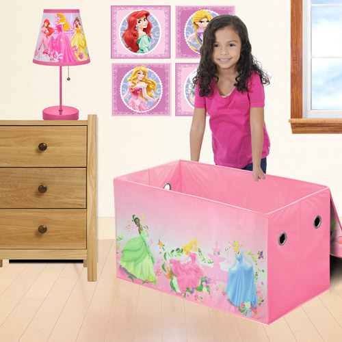 Disney - Princess Bedroom/Playroom Accessories Set including a Lamp, 4 Pack Wall Art and a Storage Trunk - Value Bundle