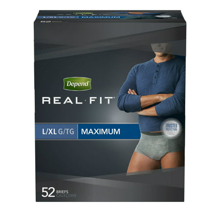 Depend Real Fit For Men Maximum Absorbency Briefs  L Xl  52 Count