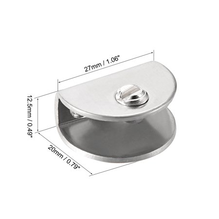 Glass Shelf Brackets - Adjustable Stainless Steel Glass Clamp Clip Holder Half Round for 5-10mm thickness , 2 Pcs - image 1 de 3