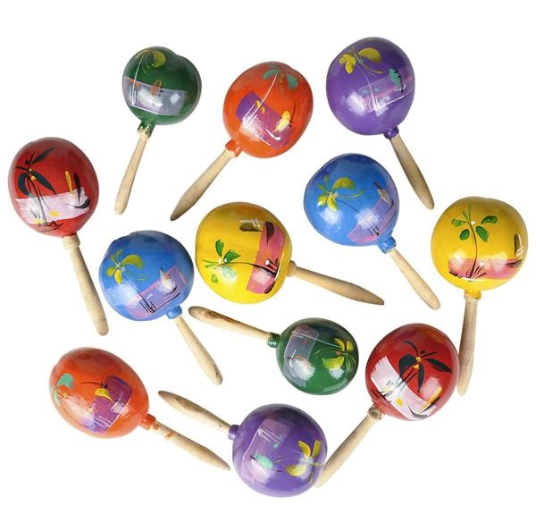 "7"" 1 Pair of Mexican Maracas Assorted Colors by Rhode Island Novelty"
