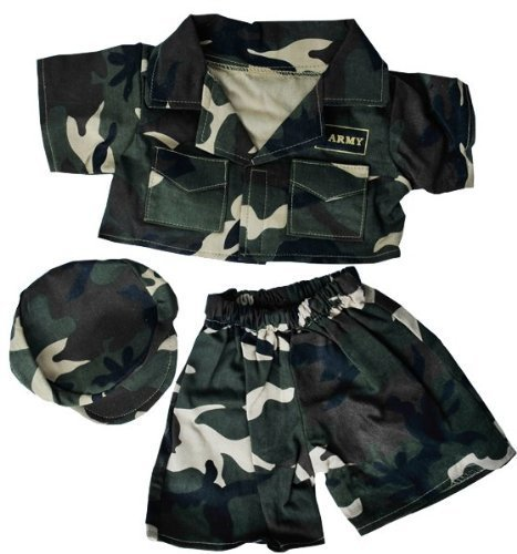 """Army """"Green"""" w Cap Outfit Teddy Bear Clothes Fits Most 14"""" 18""""... by Teddy Mountain"""