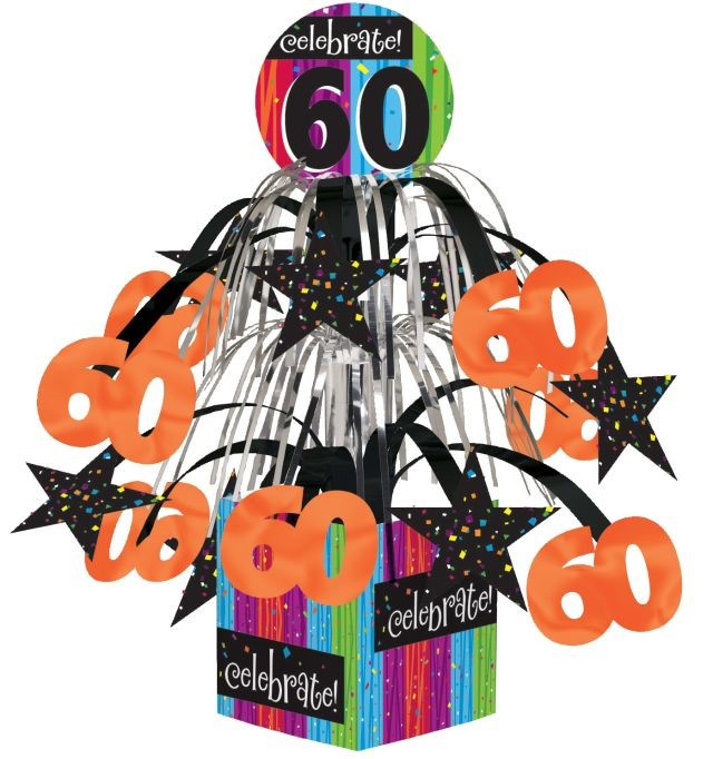 Access Milestone Celebrations 60th Birthday Mini Cascade Centerpiece, 1 Ct