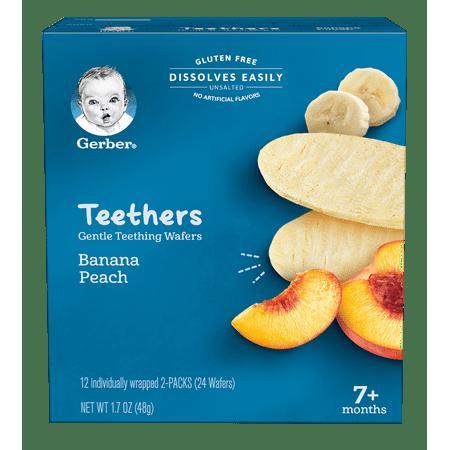 Gerber Teethers, Gentle Teething Wafers, Banana & Peach, 1.7 oz Box, 12 Count (Pack of 6)