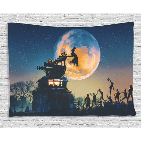 Fantasy World Decor Tapestry, Dead Queen in Castle and Zombies Cemetery Love Bridal Halloween Theme, Wall Hanging for Bedroom Living Room Dorm Decor, 60W X 40L Inches, Blue Yellow, by Ambesonne - Halloween Themed Room Ideas