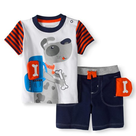 Baby Boy T-shirt & 3D Interactive Shorts, 2pc Outfit - Baby Minion Outfit