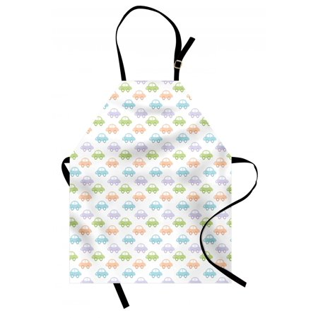 Cars Apron Simple Automobiles in Pastel Colors Childhood Game Icons for Little Kids and Babies, Unisex Kitchen Bib Apron with Adjustable Neck for Cooking Baking Gardening, Multicolor, by Ambesonne - Halloween Baby Cooking Games