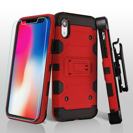Apple iPhone XR Case, by Insten 3-in-1 Storm Tank with Screen Protector Hard Plastic/Soft TPU Rubber Dual Layer [Shock Absorbing] Hybrid Case Cover w/Stand/Holster For Apple iPhone - Protector Hard Case Rubber