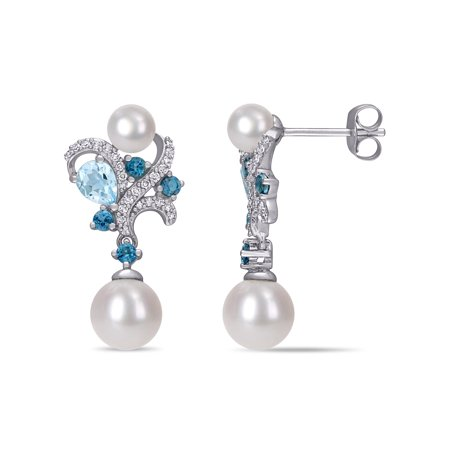 Halloween 10k London (Tangelo Freshwater Cultured Pearl, 1-1/6 Carat T.G.W. London and Sky-Blue Topaz and 1/5 Carat T.W. Diamond 10k White Gold Drop)