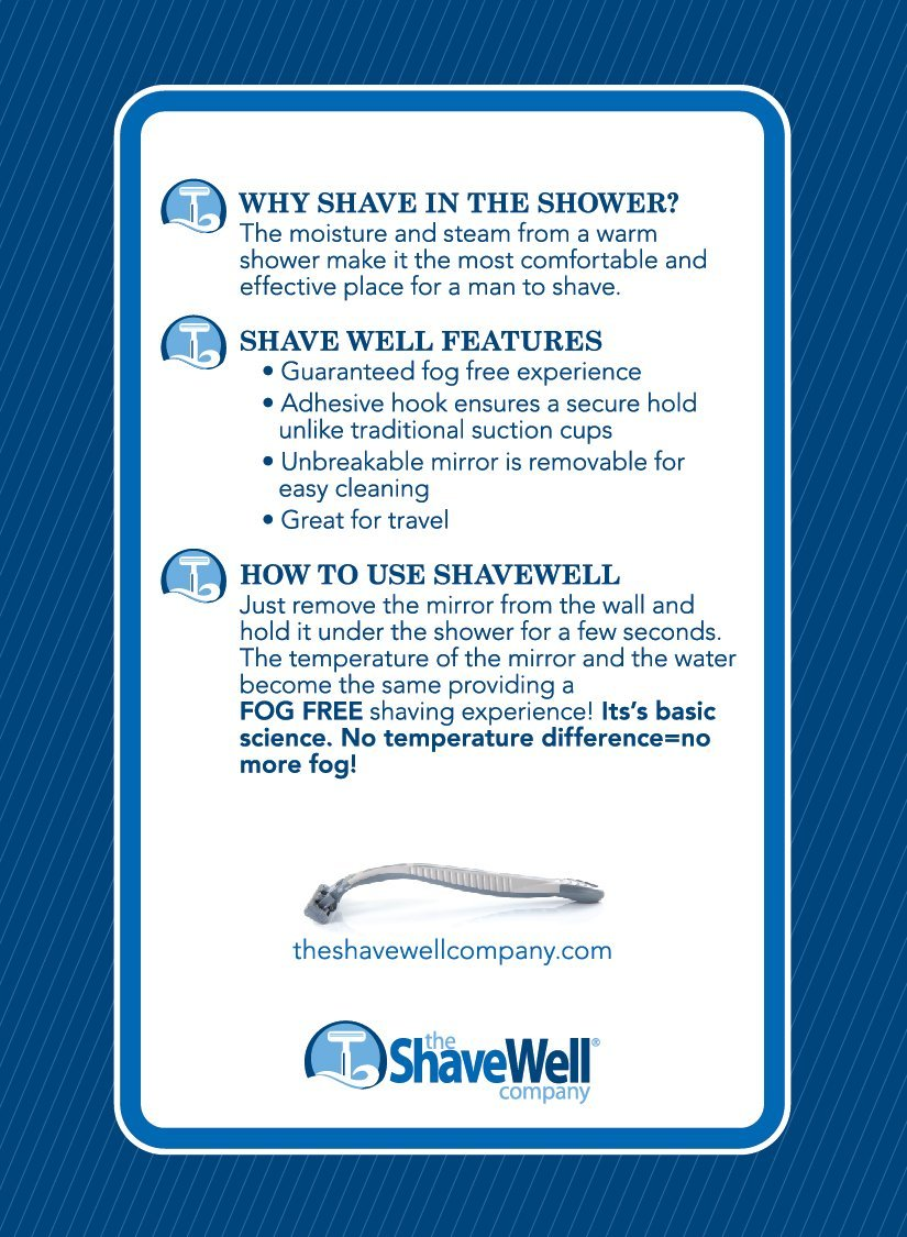 deluxe shave well fogfree shower mirror 33 larger than the original shave well mirror walmartcom