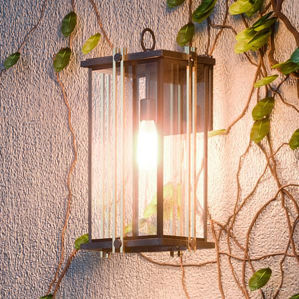 """Urban Ambiance Luxury Transitional Outdoor Wall Light, Large Size: 20""""H x 10""""W, with Craftsman Style Elements, Gold Trimmed Design, Elegant Estate Bronze Finish and Beveled Glass, UQL1072"""