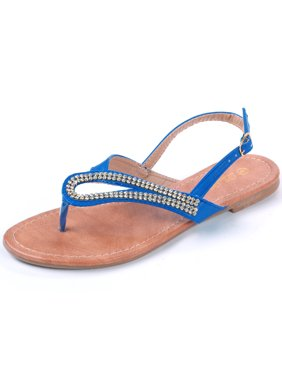 bf9d438e6ccc2 Product Image Dressy Rhinestone Flats Women s Sandals Thong Ankle Buckle  Askew Slant Strap New. Luo Luo