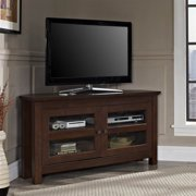 44 in. Corner Wood TV Console in Traditional Brown Finish