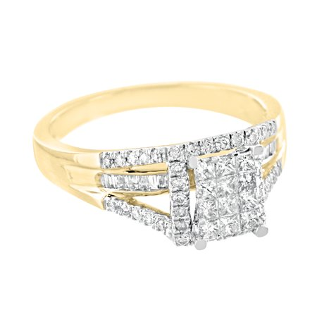 Princess Cut Wedding Ring 14k Yellow Gold 0.55 Carat Diamonds Engagement Womens