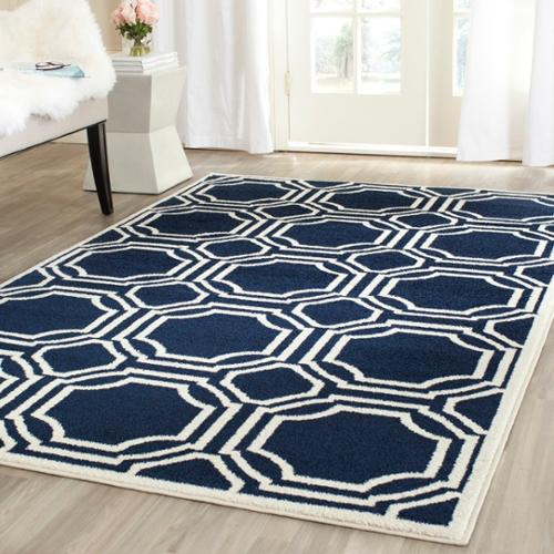 Safavieh Amherst Indoor/ Outdoor Navy/ Ivory Rug (8u0027 X ...