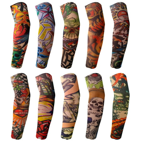 BodyJ4You 10PC Fake Tattoo Sleeve Temporary Arm Cover Design Halloween Skull Sun Rose Art Costume - Halloween Face Paint Sugar Skull