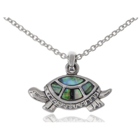 Silver Tone Turtle (Small Cute Silver Tone Faux Abalone Shell Happy Walking Turtle Fashion Necklace )