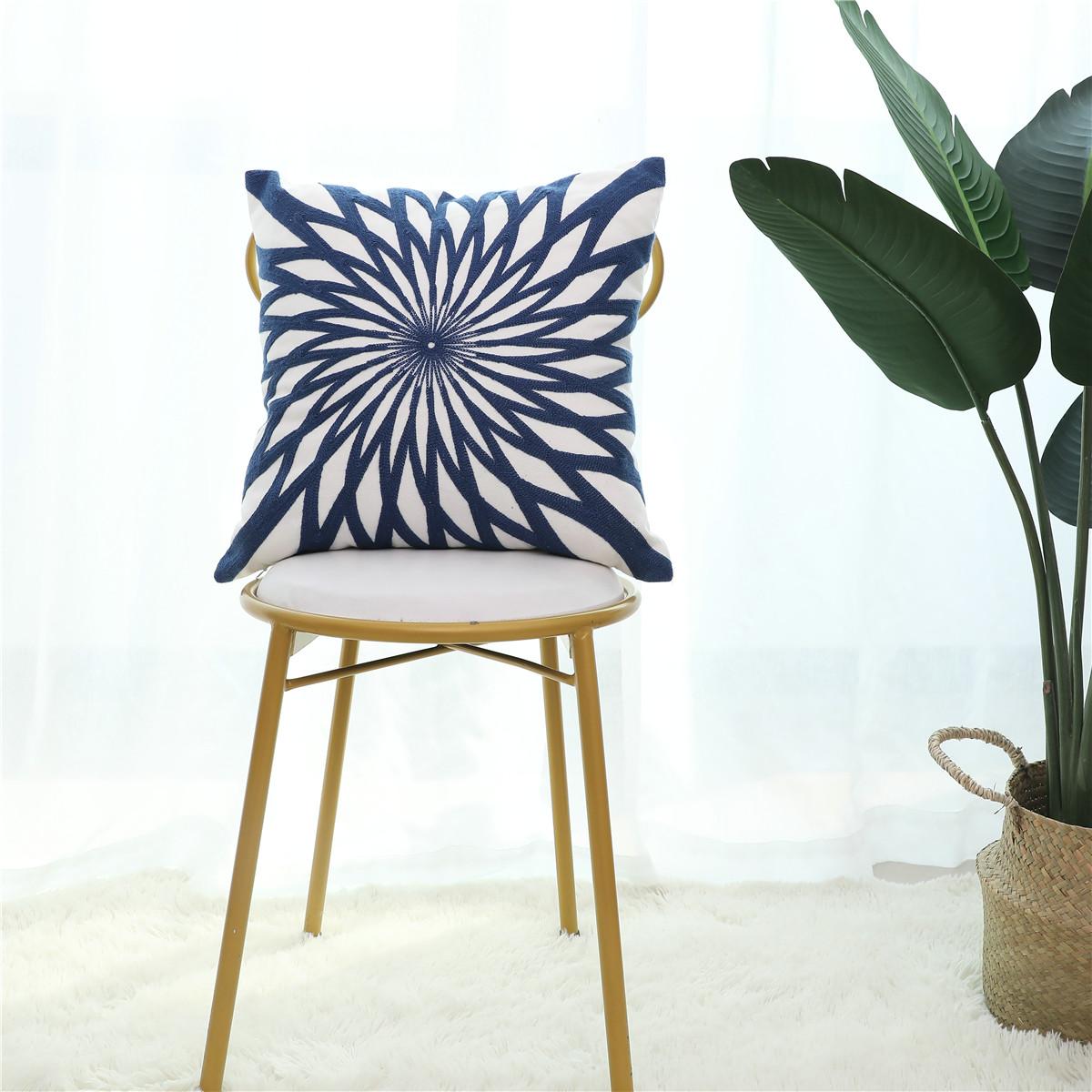 Bedding Soft Decorative Square Cushion Covers 100 Cotton Throw Pillow Cases Sofa Bedroom Car Pillow Covers 18 X18 Blue Walmart Com Walmart Com