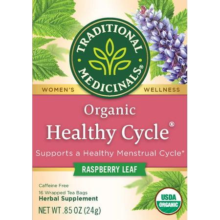 Traditional Medicinals, Organic Healthy Cycle Raspberry Leaf, Tea Bags, 16 Ct (Medicinal Tea Period)