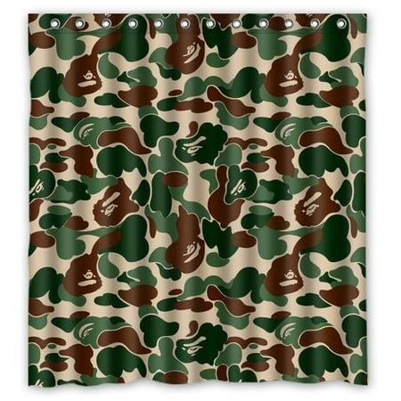 DEYOU Bape Bathing Ape Camo Shower Curtain Polyester Fabric Bathroom Size 66x72 Inches