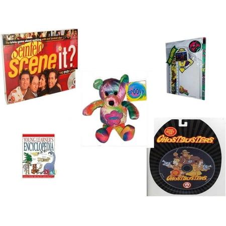 Children's Gift Bundle [5 Piece] -  Scene It? DVD  - Seinfeld Edition - 1994 Mighty Morphin Power Rangers Memo Pack - Groovy Beanie Bear  8