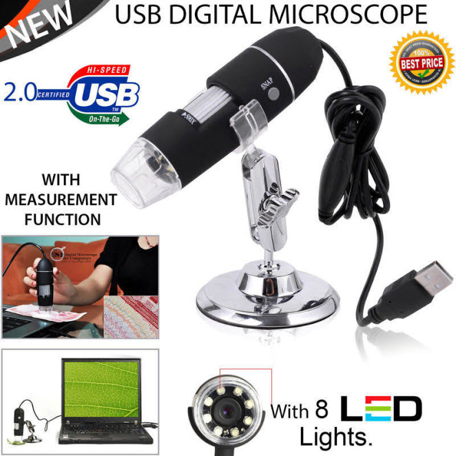 Portable 2MP 1000X 8 LED Magnification 8-LED USB Digital Microscope Endoscope with Stand for Education Industrial Biological Inspection, 1000X 8 LED Magnification