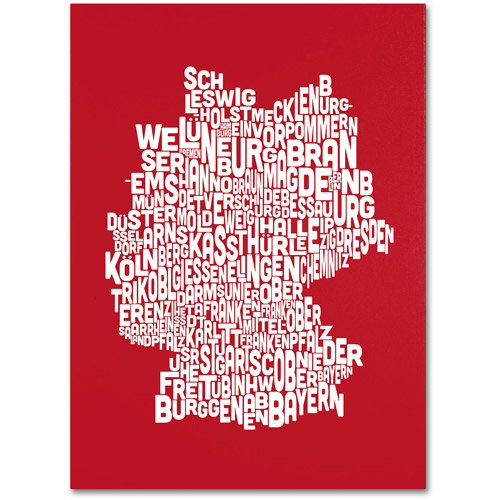 Trademark Art 'RED-Germany Regions Map' Canvas Art by Michael Tompsett